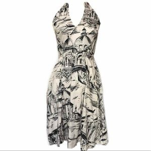 Eva Franco City Halter Dress Black White 6
